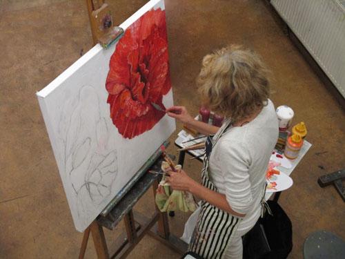 Marcella Iedema - klaprozen 3-luik-www.marcellaspaintings.nl